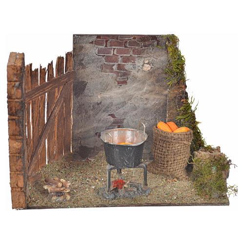 Milieu épis de mais et casserole 10,5x15x8 crèche Napolitaine 1