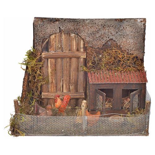 Cage avec poules crèche napolitaine 12x16x8 cm 1