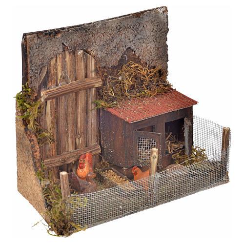Cage avec poules crèche napolitaine 12x16x8 cm 2