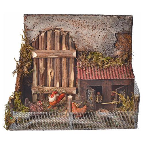 Cage avec poules crèche napolitaine 12x16x8 cm 3