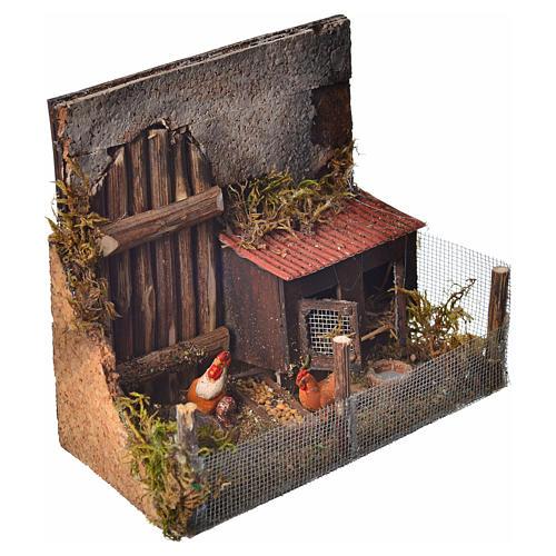 Cage avec poules crèche napolitaine 12x16x8 cm 4