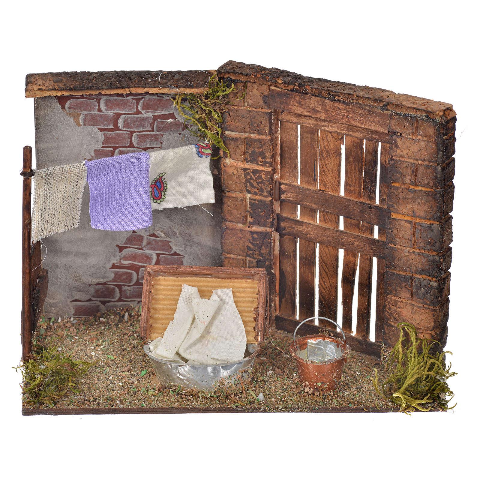 Escena lavandería 10,5x15x8 pesebre napolitano 4