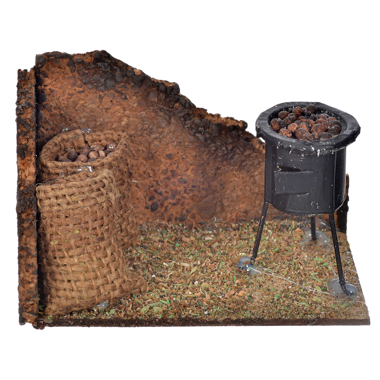 Neapolitan Nativity scene, wood-burning oven with chestnuts 6x9, 4
