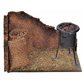 Neapolitan Nativity scene, wood-burning oven with chestnuts 6x9, s1