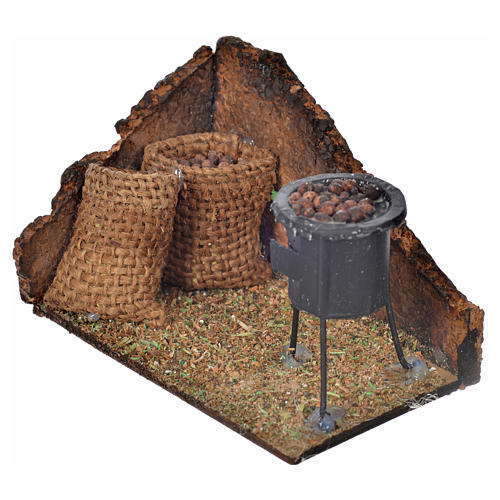 Neapolitan Nativity scene, wood-burning oven with chestnuts 6x9, 2