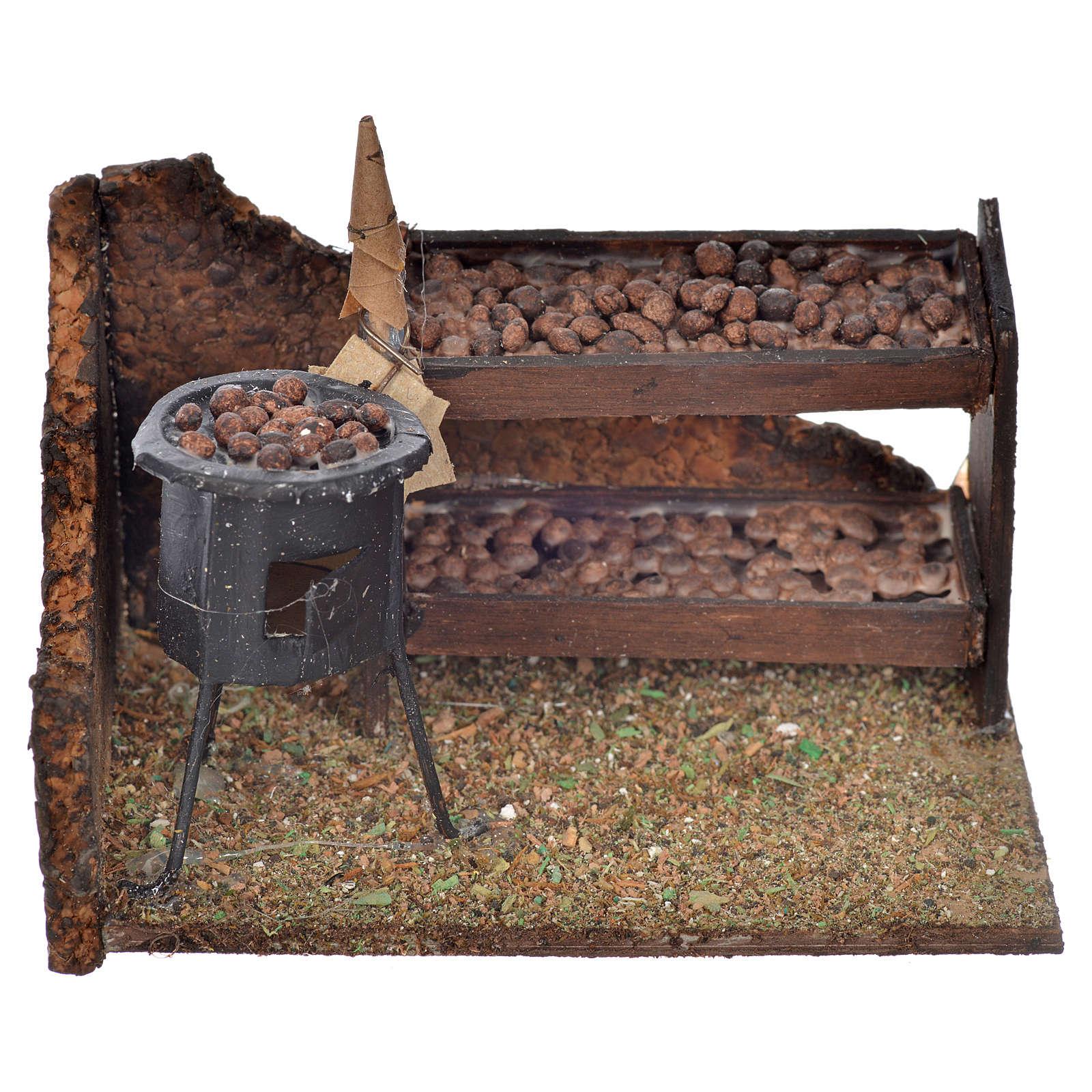 Escena banca de castañas horneadas 6x9x7cm pesebre napoli 4