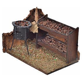 Escena banca de castañas horneadas 6x9x7cm pesebre napoli s2