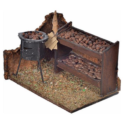 Escena banca de castañas horneadas 6x9x7cm pesebre napoli 2