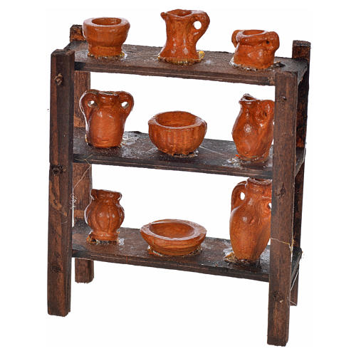 Scaffale vasame terracotta presepe napoletano 7x6x3 cm 1