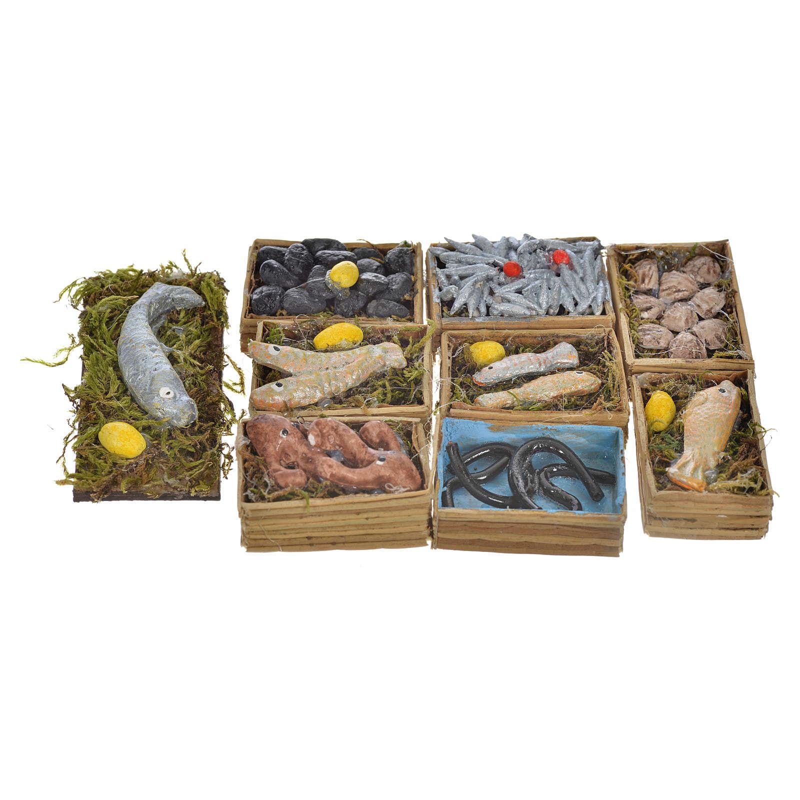 Neapolitan Nativity scene accessory, fish boxes, 9 pieces 4