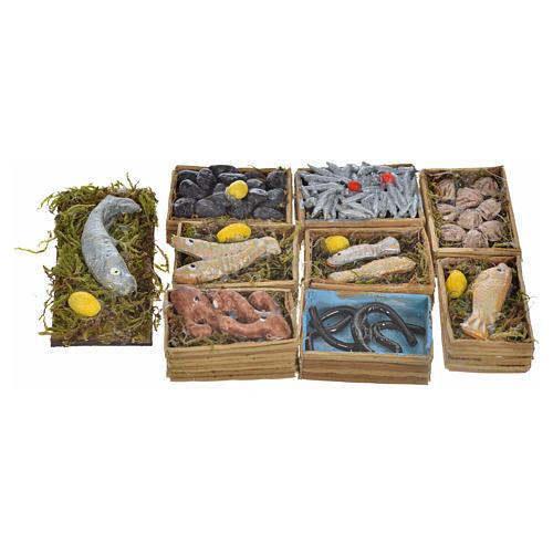 Neapolitan Nativity scene accessory, fish boxes, 9 pieces 1