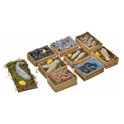 Neapolitan Nativity scene accessory, fish boxes, 9 pieces 2