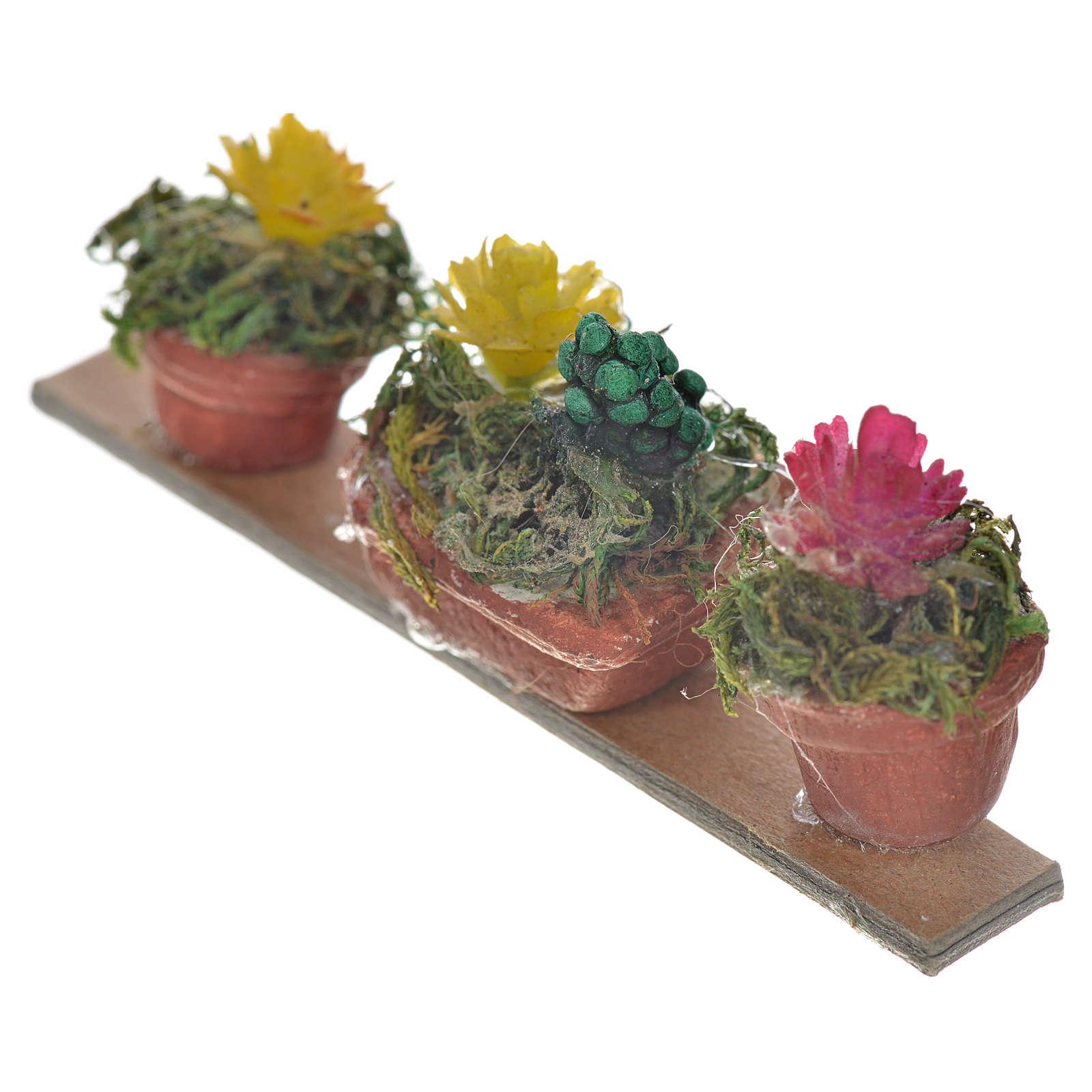 Ripiano 3 vasi con fiori 6,5x2,5 cm presepe napoletano 4