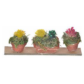 Ripiano 3 vasi con fiori 6,5x2,5 cm presepe napoletano s1