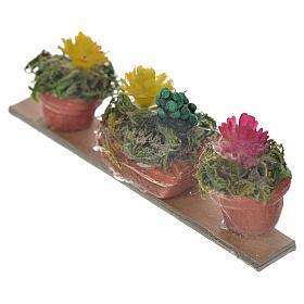 Ripiano 3 vasi con fiori 6,5x2,5 cm presepe napoletano s2