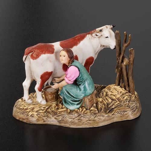 Santon crèche Noel Moranduzzo trayeuse et vache 10 cm 3