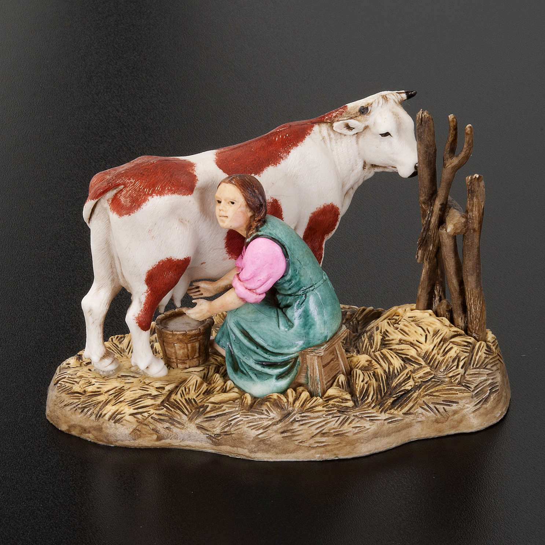 Mungitrice con mucca 10 cm resina Moranduzzo 3