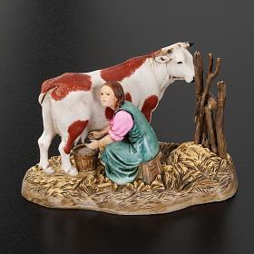 Mungitrice con mucca 10 cm resina Moranduzzo s3
