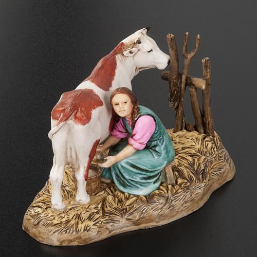 Mungitrice con mucca 10 cm resina Moranduzzo 2