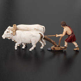 Nativity figurine, farmer plough and oxen 10cm, resin Moranduzzo s4