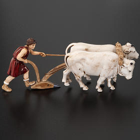 Nativity figurine, farmer plough and oxen 10cm, resin Moranduzzo s5