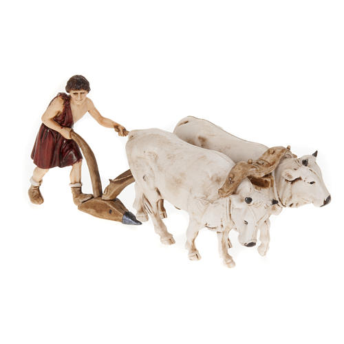 Nativity figurine, farmer plough and oxen 10cm, resin Moranduzzo 1