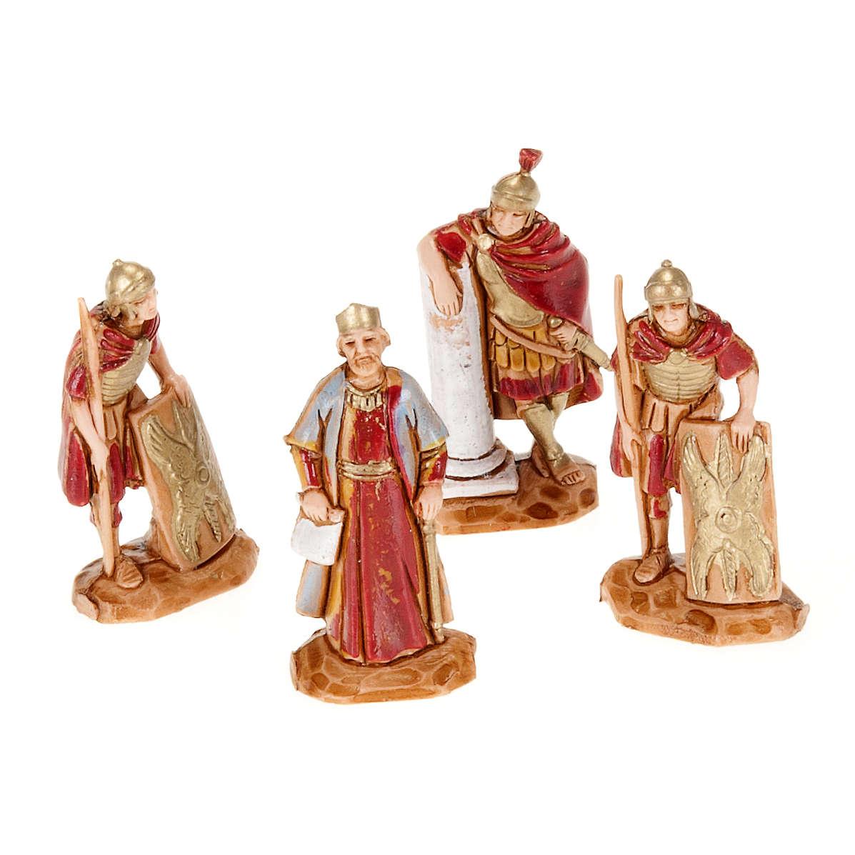 Rei Herodes com soldados romanos 4 peças 3,5 cm 4