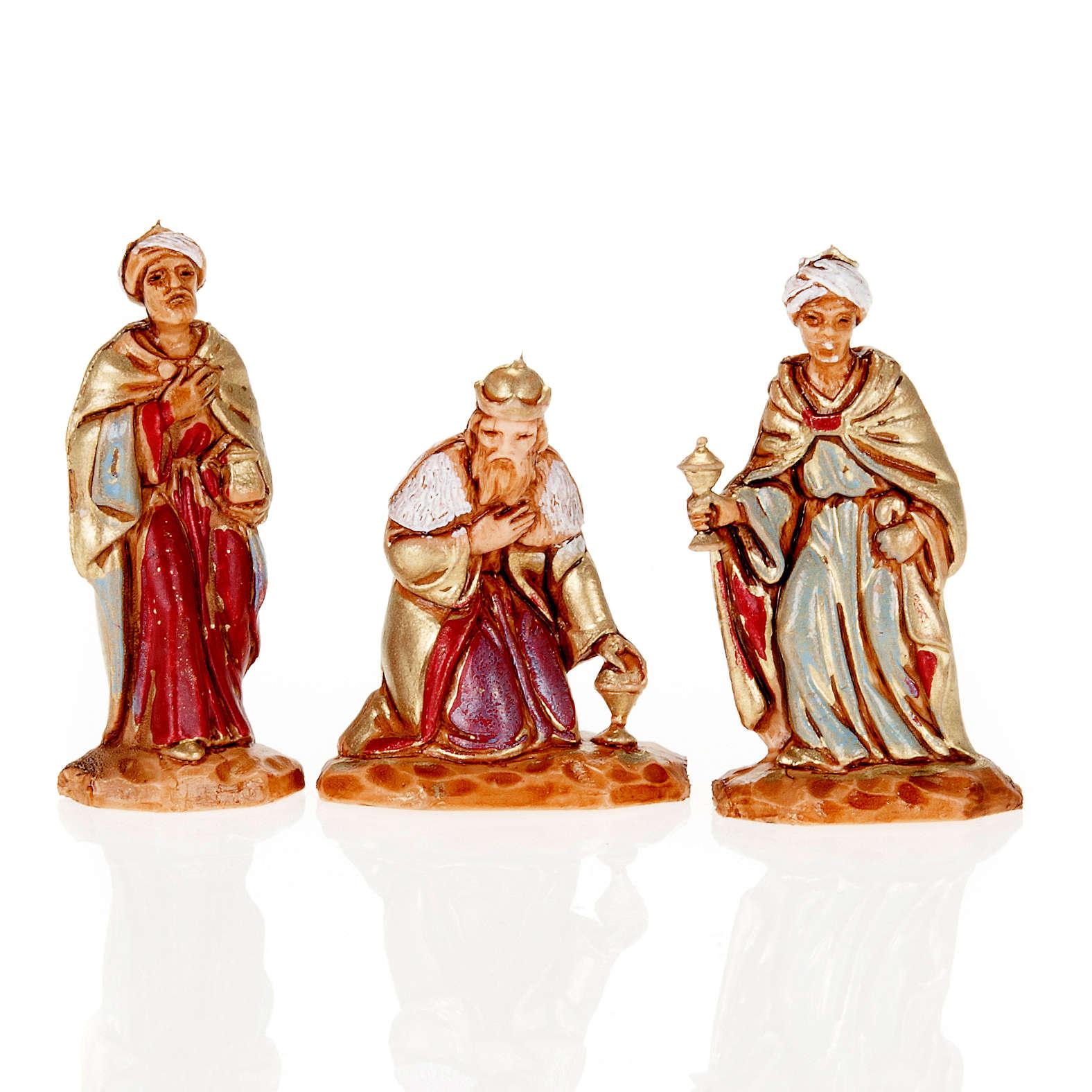 Reyes Magos Moranduzzo 3.5 cm. de plástico 3.5 cm. pintado a 4