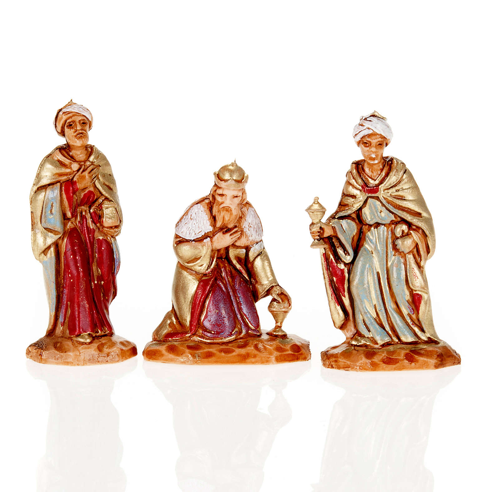 Nativity figurine, Three Wise Kings in hand painted plastic 3cm 4