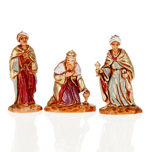 Nativity figurine, Three Wise Kings in hand painted plastic 3cm 1