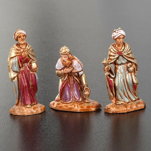 Nativity figurine, Three Wise Kings in hand painted plastic 3cm 2