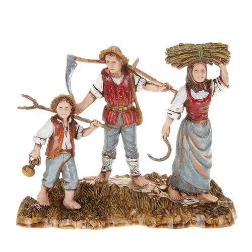 Setting for Moranduzzo nativities, 3 shepherds 10cm 1