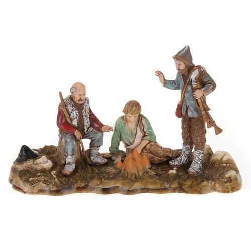 Setting for Moranduzzo nativities, 3 shepherds with fire 10cm 1