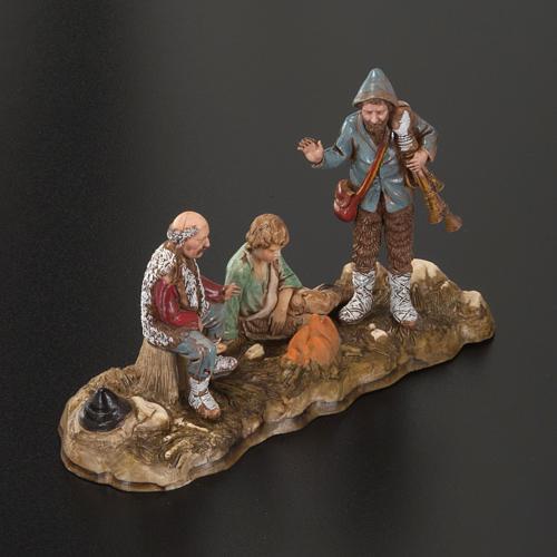 Setting for Moranduzzo nativities, 3 shepherds with fire 10cm 2