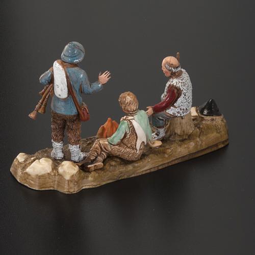 Setting for Moranduzzo nativities, 3 shepherds with fire 10cm 4