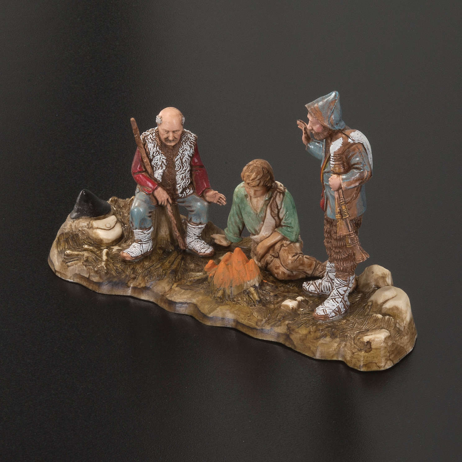 Setting for Moranduzzo nativities, 3 shepherds with fire 10cm 3