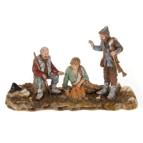 Setting for Moranduzzo nativities, 3 shepherds with fire 10cm 1
