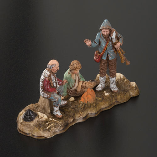 Setting for Moranduzzo nativities, 3 shepherds with fire 10cm 2