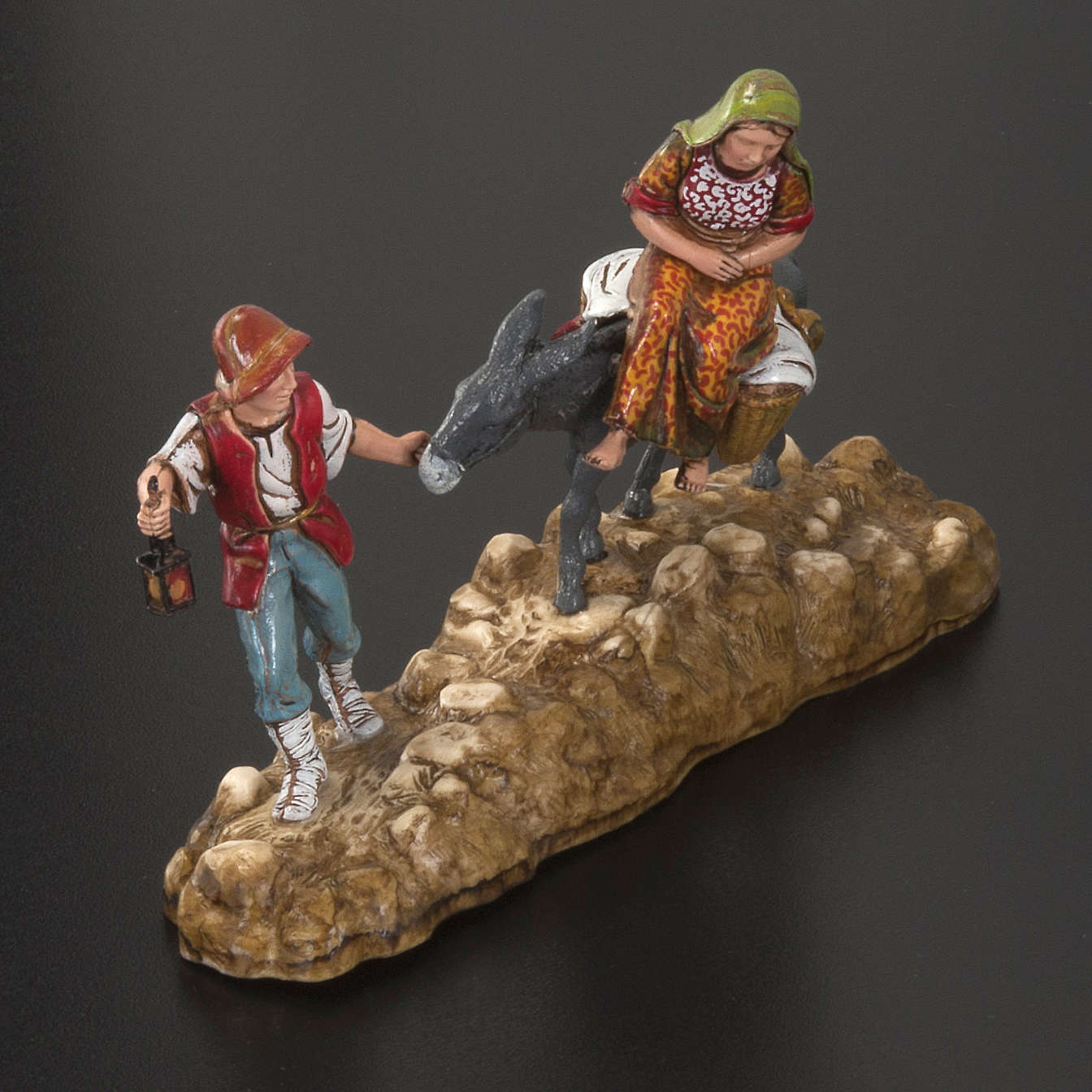 Statue presepe Moranduzzo pastore e asino con donna 10 cm 3