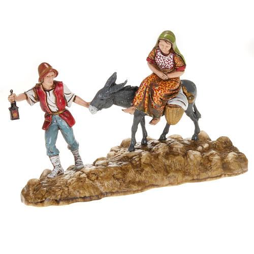 Statue presepe Moranduzzo pastore e asino con donna 10 cm 1