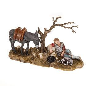 Schlafende Hirte mit Esel 10cm Krippe Moranduzzo s1