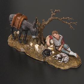 Statue presepe Moranduzzo pastore in riposo con asino 10 cm s2