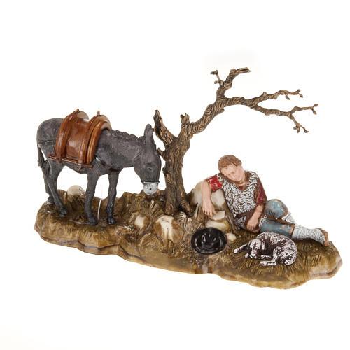 Statue presepe Moranduzzo pastore in riposo con asino 10 cm 1