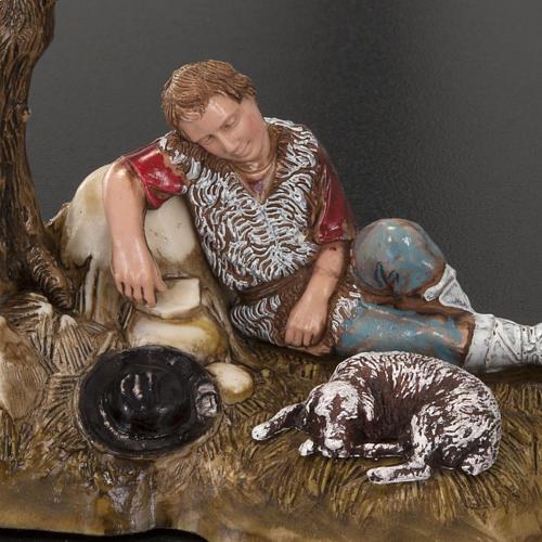 Statue presepe Moranduzzo pastore in riposo con asino 10 cm 4