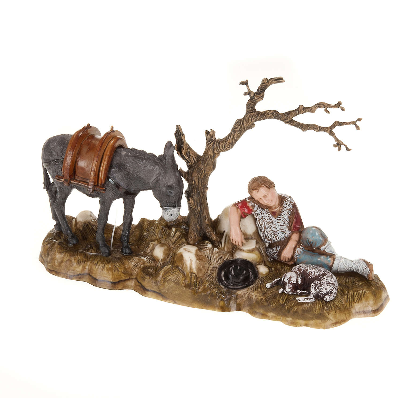 Figury szopka Moranduzzo pasterz odpoczywający z osłem 10 cm 3