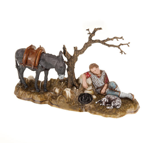 Figury szopka Moranduzzo pasterz odpoczywający z osłem 10 cm 1