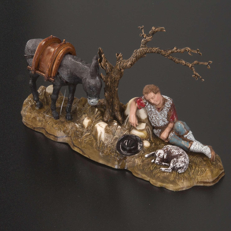 Setting for Moranduzzo nativities, resting shepherd with donkey 3