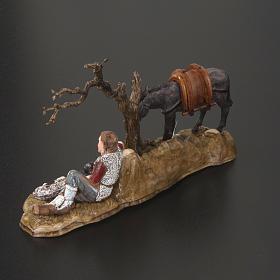 Setting for Moranduzzo nativities, resting shepherd with donkey s3