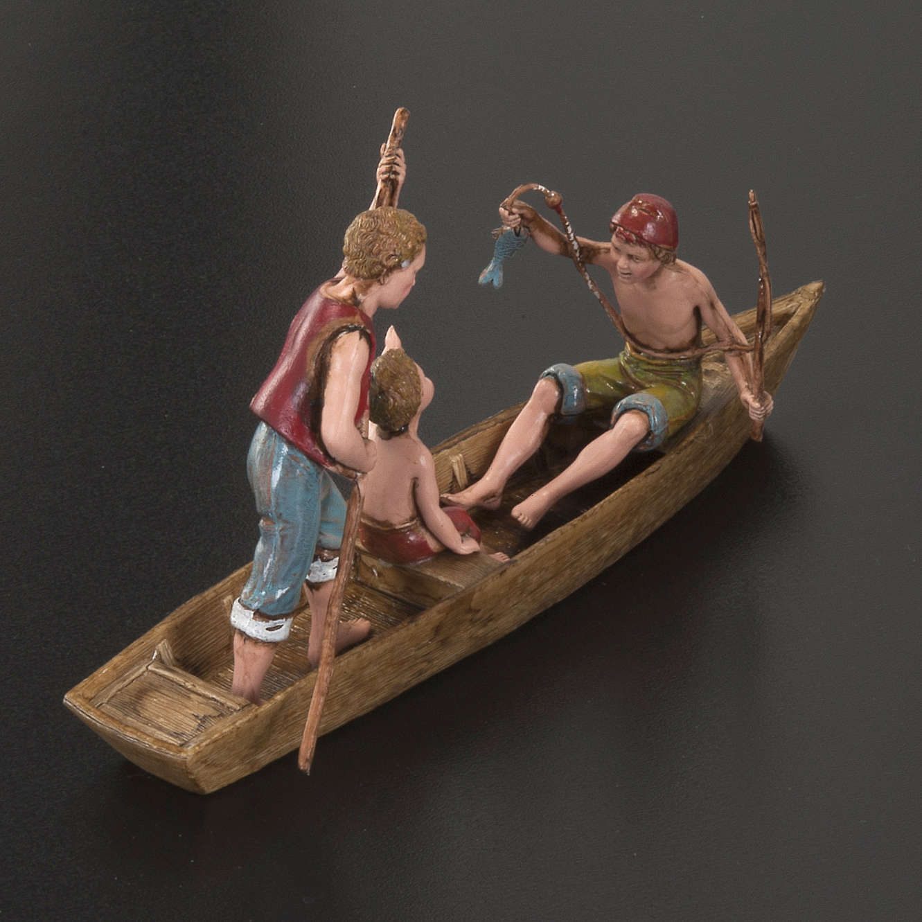 Figurines for Moranduzzo nativities, boat with 3 men 10cm 3