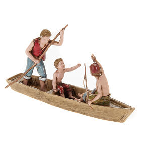 Figurines for Moranduzzo nativities, boat with 3 men 10cm s1